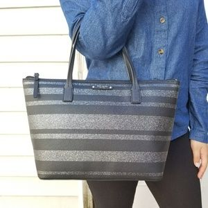 Kate Spade Haven Lane Glitter Stripes Tote Bag